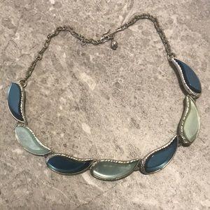 Vintage thermoset blue silver tone necklace